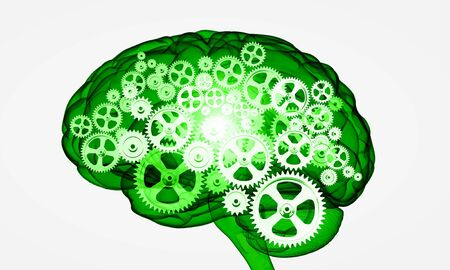 compute: Illustration of human brain with cogwheel mechanisms on white background