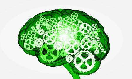 mechanisms: Illustration of human brain with cogwheel mechanisms on white background