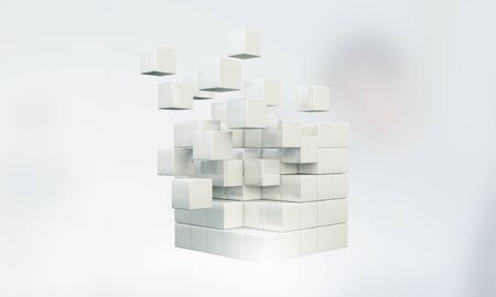 disintegrating: High tech concept with 3D rendering cube figure Stock Photo