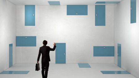 way out: Businessman in room choosing one of plenty of doors