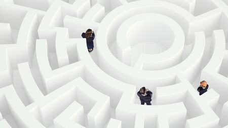 way out: Puzzled business people in white labyrinth trying to find way out