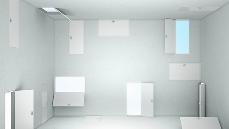 subconsciousness: Empty room with numerous doors in walls at different height Stock Photo