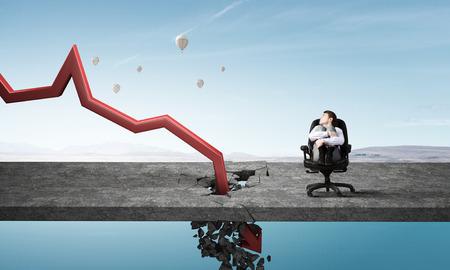 breaking through: Businessman and red decreasing arrow breaking through floor