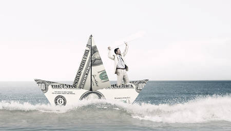 3d boat: Businessman in ship of dollar banknote floating on water