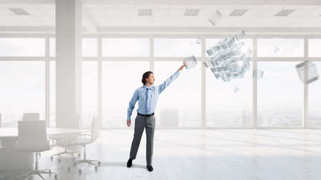 reaching hand: Businessman reaching hand to touch 3D rendering cube figure