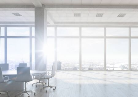 White office 3D render interior in day light. Mixed media