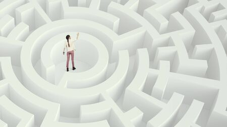 way out: Young woman in center of white labyrinth trying to find way out