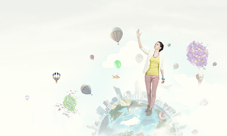 positivism: Young woman in casual in surreal positive reality
