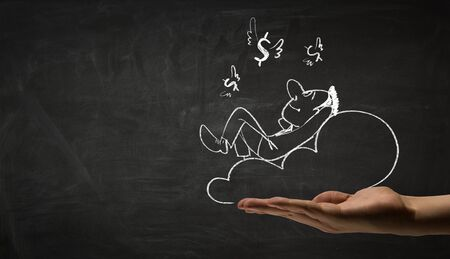 become: Hand draw with chalk caricature of funny businessman