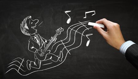 funny pictures: Hand draw with chalk caricature of funny musician