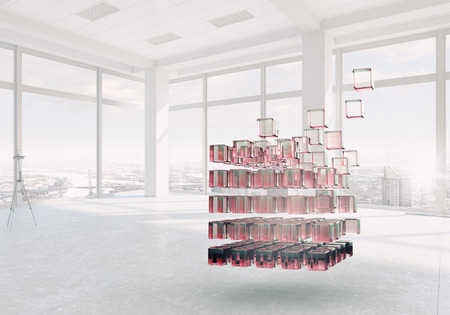 disintegration: White office interior with 3D cube figure. Mixed media Stock Photo
