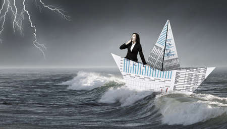 3d sail boat: Businesswoman floating in boat made of paper