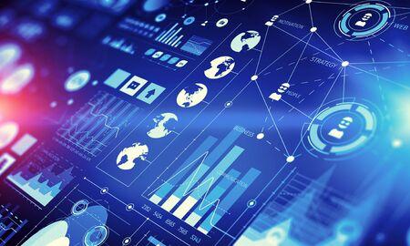 Futuristische Benutzeroberfläche mit Geschäfts infographs und Symbole