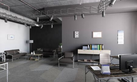 3D rendering office interior design and no people