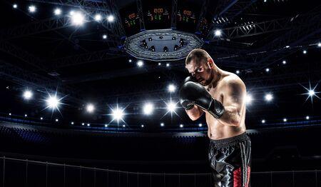 Profi-Boxer auf Arena in Strahlern kämpfen Standard-Bild