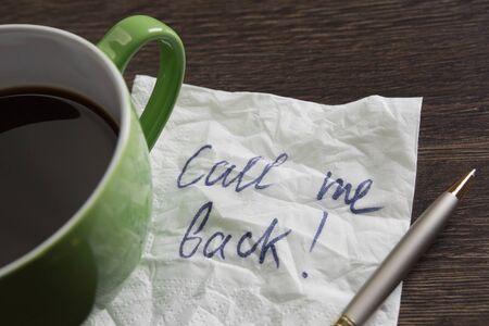 romance strategies: Romanic message written on napkin on wooden table