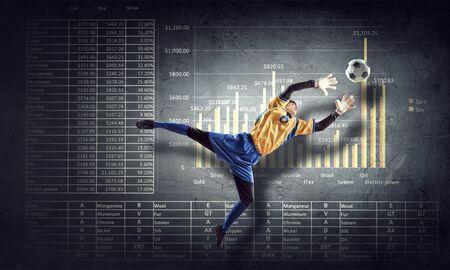 arquero de futbol: portero de fútbol y el progreso en el fondo infografías Foto de archivo