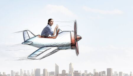 Funny image of woman flying in drawn airplane