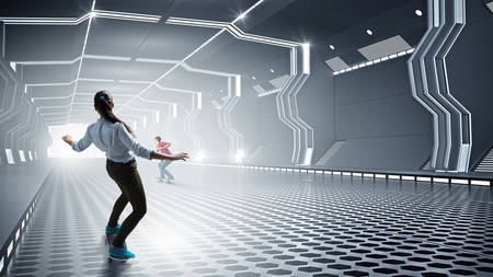 futuristic interior: Active girl riding skateboard in virtual futuristic interior. Mixed media