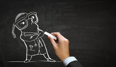 funny pictures: Hand draw with chalk caricature of funny doctor Stock Photo