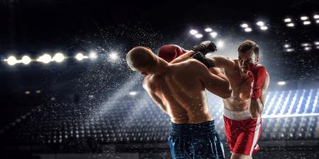 アリーナ パノラマ ビューで 2 つのプロのボクサーが戦っています。
