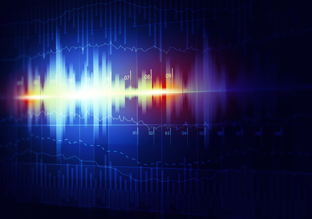 music 3d: Techno equalizer background with waves and streams Stock Photo