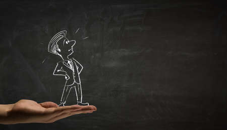funny pictures: Hand draw with chalk caricature of funny businessman