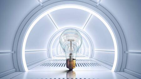 media center: Modern 3d interior design with glass light bulb in center. Mixed media Stock Photo