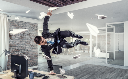 Funny jumping businessman in modern 3D rendering interior. Mixed media Reklamní fotografie