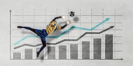arquero: portero de fútbol y el progreso en el fondo infografías Foto de archivo