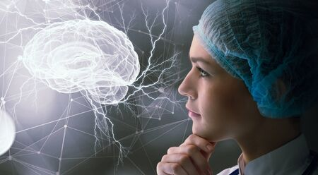 research science: Young female doctor and modern connection technologies
