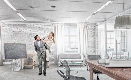 break in: Careless business people having break in office. Mixed media