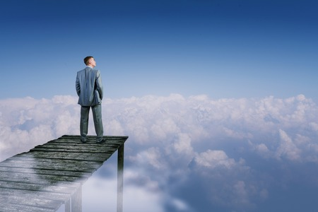 Back view of businessman standing on bay high in sky