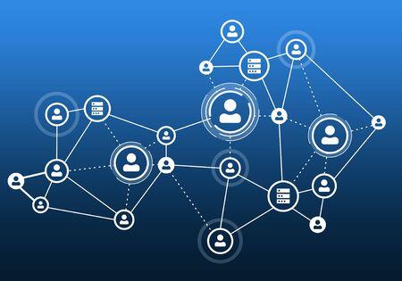 concepto de fondo azul comunicación con líneas sociales de red