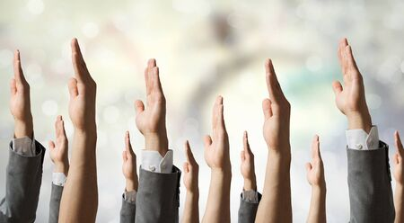 many hands: Many hands of people in row showing different gestures Stock Photo