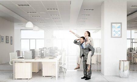 office slave: Careless business people having break in office. Mixed media