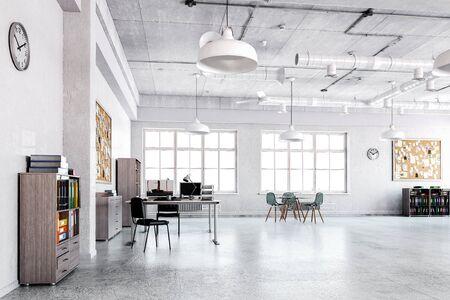 Rendu 3D de bureau design d'intérieur et aucun peuple
