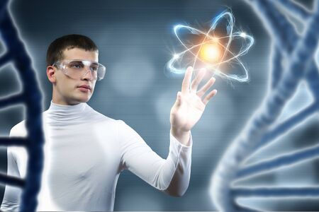clinical laboratory: Young scientist making dna research in clinical laboratory