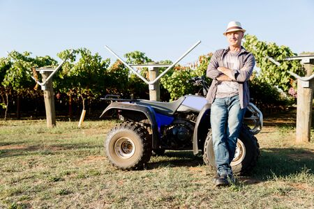 Man wearing hat standing next to truck in vineyard Stock Photo