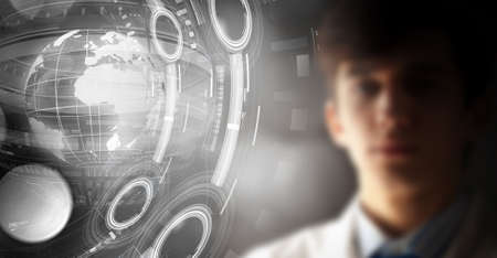protective glasses: Man in protective glasses touching 3D rendering virtual panel Stock Photo