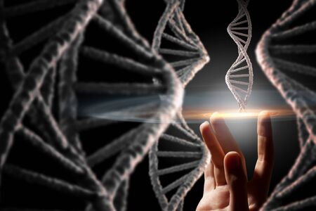 research science: Close up of female hand and DNA molecule research concept