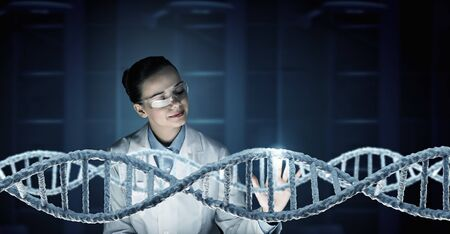 laboratory research: Woman science technologist in laboratory working with DNA molecule project. 3D rendering