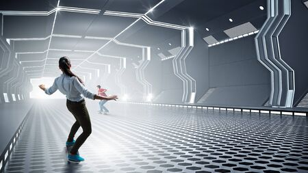 futuristic girl: Teenager active girl riding skateboard in futuristic tunnel. Mixed media Stock Photo