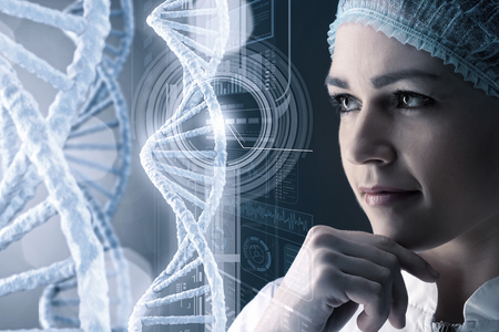 technologist: Woman science technologist in laboratory working with DNA molecule project. 3D rendering