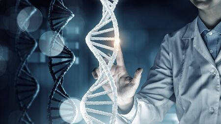 guanine: Woman scientist and 3D rendering DNA molecule image at media screen Stock Photo