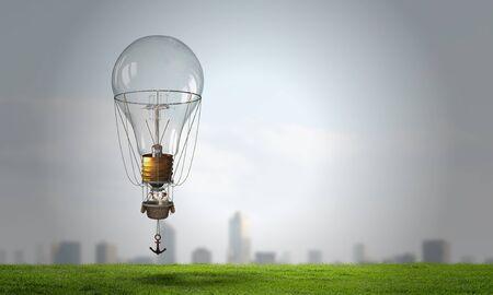 Man in cylinder flying in aerostat high in sky