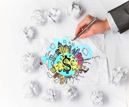 artisitic: Financial growth concept with hand drawing money signs on paper sheets