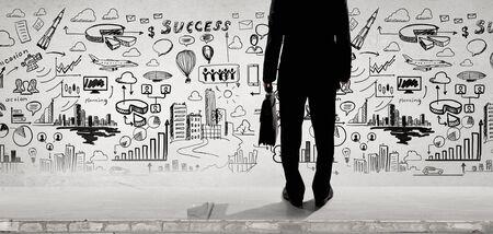Vista inferior de las ideas de negocios y negocios esbozados en el fondo Foto de archivo