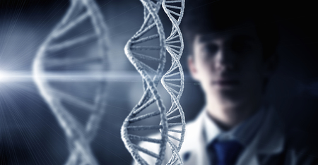 guanine: Man scientist and 3D rendering DNA molecule image at media screen Stock Photo
