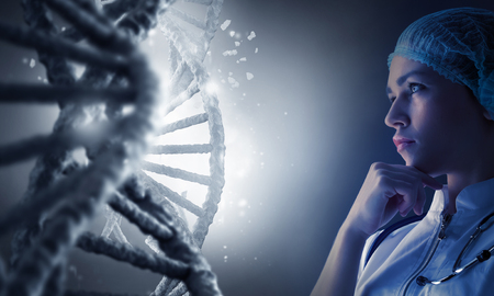 Woman science technologist in laboratory working with DNA molecule project. 3D rendering